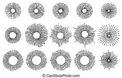 Set of Vintage Sunbursts in Circle Shapes. Trendy hand drawn retro bursting rays design elements. Vector geometric labels