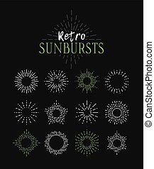 Set of Vintage Sunbursts in Different Shapes. Trendy Hand...