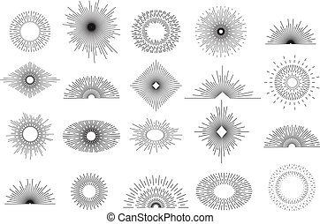 Set of vintage sunbursts in different shapes