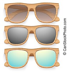 Set of Vintage sunglasses with wooden frame. Retro style.