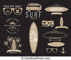 Set of Vintage Surfing Graphics and Emblems for web design or print. Surfer, beach style logo design. Surf Badge. Surfboard seal, elements, symbols. Summer insignias. hipster colors