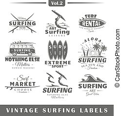 Set of vintage surfing labels. Vol.2