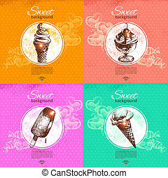 Set of vintage sweet backgrounds. Hand drawn illustration. Menu for restaurant and cafe