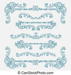 Set of vintage swirls and borders