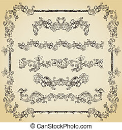 Set of vintage swirls, seamless borders and vignettes in frame