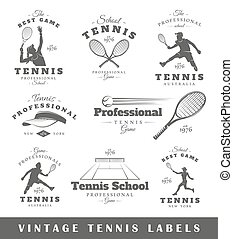 Set of vintage tennis labels