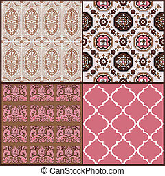 Set of Vintage Tiles Backgrounds - design elements for...