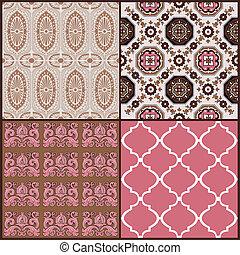 Set of Vintage Tiles Backgrounds - design elements for...