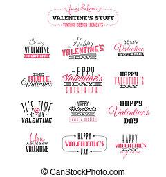Set of vintage Valentine's day design elements