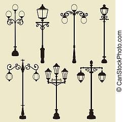 Set of vintage various ornamental streetlamps