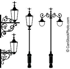 Illustration set of vintage various streetlamp - vector