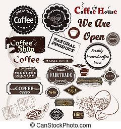Set of vintage vector coffee badges