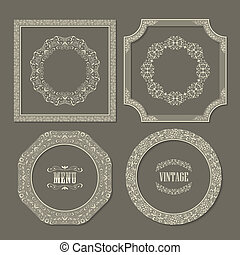 Set of vintage vector frames borders
