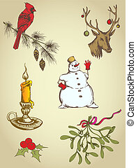 hand drawn Christmas elements - set of vintage vector hand ...