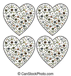Set of vintage vector heart stamps
