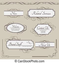 Set of vintage vector labels, frames, borders