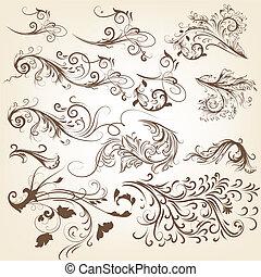Set of vintage vector swirl ornamen - Vector set of swirl...