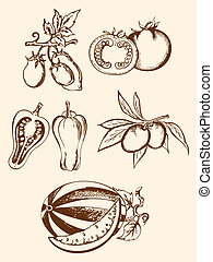 set of vintage vegetable icons