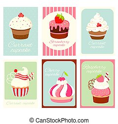 Set of vintage vertical card with cupcakes