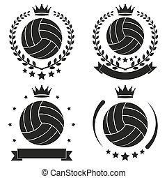 Set of Vintage Volleyball Club Badge and Label