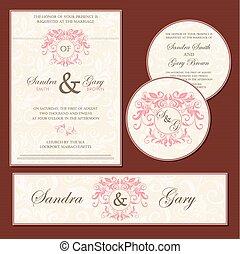 Set of vintage wedding invitation