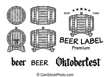 Set of vintage wooden barrels in different foreshortening....