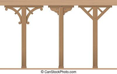 Set of vintage wooden columns