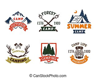 Set of vintage woods camp badges and travel logo hand drawn emblems nature mountain camp outdoor vector illustration.