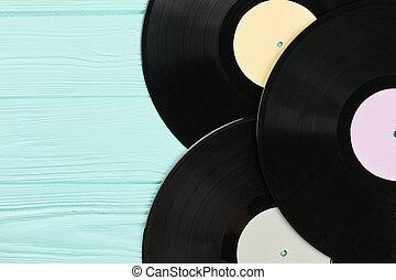 Set of vinyl records close up.
