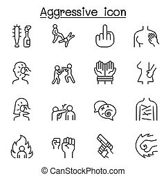 Set of Violence Related Vector Line Icons. Contains such ...