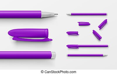 Set of violet colored office pens and caps