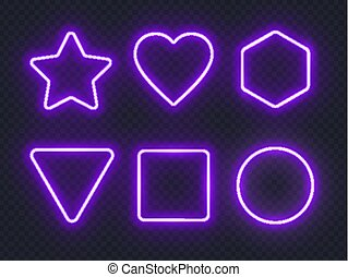 Set of violet glowing neon frames on dark background.