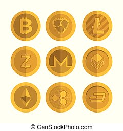 set of virtual coins icons