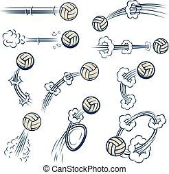 Set of volleyball balls with motion trails in comic style. Design element for poster, banner, flyer, card.