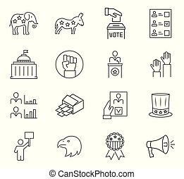 Set of vote icon in thin line style. Vector symbols.