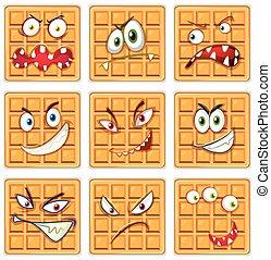 Set of waffle facial expression
