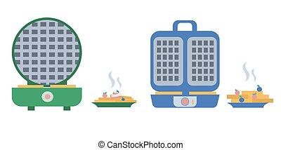 Set of waffleirons and plates of waffles Flat vector illustration
