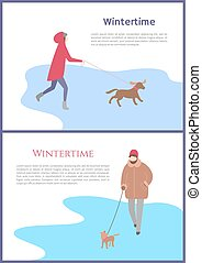 Set of Walking in Wintertime Woman with Dog Vector