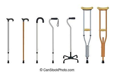 Set of walking sticks and crutches. Telescopic aluminum cane, elegant wooden walking cane, ergonomic canes with curved handle, cane - quadpod, metallic and wooden crutches. Medical assistance and rehabilitation. Isolated objects. Vector illustration.