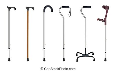 Set of walking sticks and crutches. Telescopic metal canes, wooden cane, cane with additional support,  elbow crutch. Medical devices. Vector illustrations