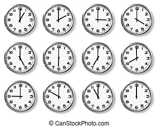 set of wall clocks