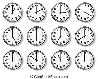 set of wall clocks