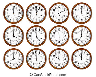 Set of wall clocks with brown wooden frame
