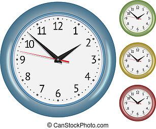 Set of wall mechanical clocks. Vector illustration