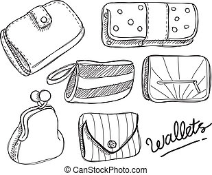 set of wallet doodle isolated on white background