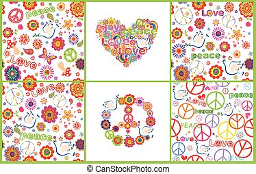 Set of wallpaper with colorful abstract flowers, hippie symbolic, mushrooms and doves