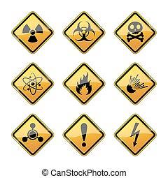 Set of warning hazard signs. Vector illustration. - Set of...