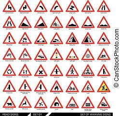 Set of warning road signs.