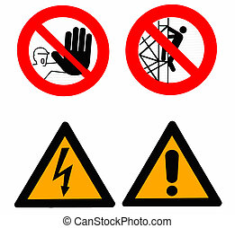 Set of warning signs - Warning signs and danger triangels
