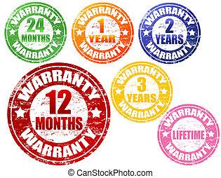 Set of warranty grunge rubber stamps, vector illustration